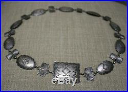 Vintage Harvey Era Native American Navajo Sterling Silver Concho Belt Buckle