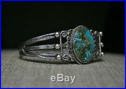 Vintage Harvey Era Navajo Sterling Silver Turquoise Cuff Bracelet