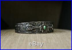 Vintage Harvey Era Navajo Sterling Silver Turquoise Thunderbird Cuff Bracelet