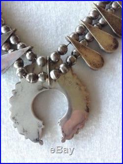 Vintage Henry Roanhorse Navajo Sterling Silver Turquoise Squash Blossom Necklace