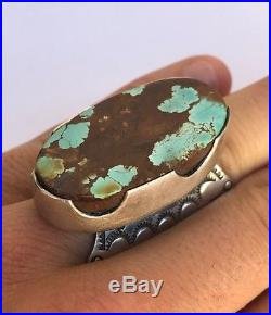 Vintage Huge Native American Navajo Gem Grade Royston Turquoise Stamped Ring