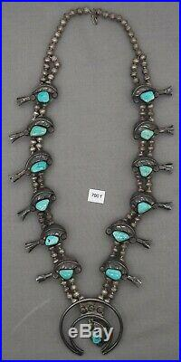 Vintage Indian Jewelry Navajo Squash Blossom Sterling & Turquoise Necklace
