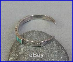 Vintage Indian Silver Stamped Square Turquoise Inlay Row Cuff Bracelet SM Wrist