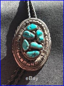 Vintage Indian Sterling Silver turquoise Bolo tie belt buckle set signed OG