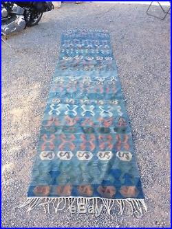 Vintage Kilim Rug, Runner Antique native American style 136 L X 34 W