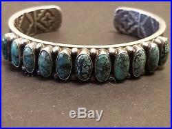 Vintage Kirk Smith Navajo Heavy Sterling Gem Quality Turquoise Cuff Bracelet