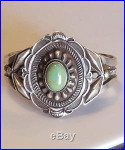 Vintage L. E. B. Navajo Sterling Silver Green Turquoise Cabochon Sandcast Cuff
