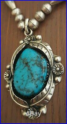 Vintage Large Navajo Handmade Sterling Gem Morenci Turquoise Necklace 57 Grams