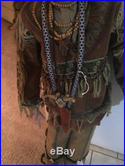 Vintage Life Size Native American Indian Statue Doll Display Prop