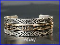 Vintage MM Rogers Navajo Sterling 14k Mens Unisex Storyteller Cuff Bracelet 60g