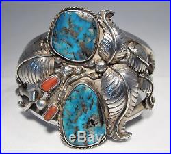 Vintage Mexico Navajo Turquoise Coral Sterling Silver Heavy Cuff Bracelet C1179