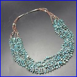 Vintage NAVAJO 7-Strand TURQUOISE Shell Heishi NECKLACE Sterling Silver End Cone