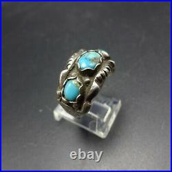 Vintage NAVAJO Chisel Stamped Sterling Silver TURQUOISE Cigar Band RING size 9
