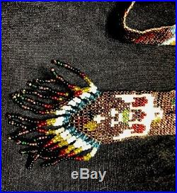Vintage NAVAJO Glass SEED BEAD NECKLACE WHIRLING LOG NATIVE OLD PAWN HARVEY ERA