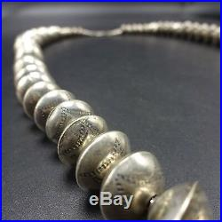 Vintage NAVAJO Hand-Stamped Sterling Silver Beads NAVAJO PEARLS NECKLACE 64.2g