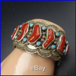 Vintage NAVAJO Hand-Stamped Sterling Silver CORAL & TURQUOISE Cuff BRACELET