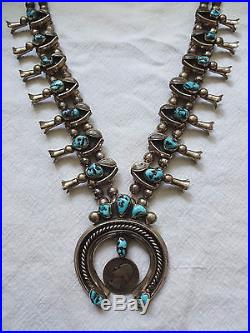 Vintage NAVAJO Hand Stamped Sterling Silver & TURQUOISE Squash Blossom NECKLACE