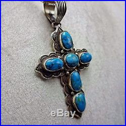 Vintage NAVAJO Hand Stamped Sterling Silver & Turquoise Cluster PENDANT + Chain
