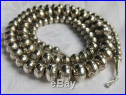 Vintage NAVAJO STERLING SILVER 30 Stamped Bench Bead NECKLACE marked 87 beads