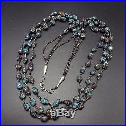 Vintage NAVAJO Sterling Silver & 3-Strand RED MOUNTAIN TURQUOISE NECKLACE