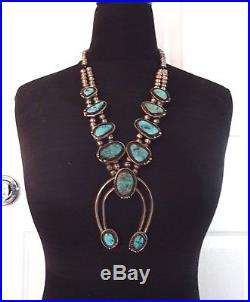 Vintage NAVAJO Sterling Silver & ARIZONA BLUE Turquoise SQUASH BLOSSOM Necklace