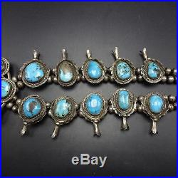 Vintage NAVAJO Sterling Silver & BISBEE Turquoise SQUASH BLOSSOM Necklace