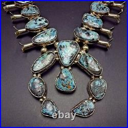 Vintage NAVAJO Sterling Silver & BLUE DIAMOND Turquoise SQUASH BLOSSOM Necklace