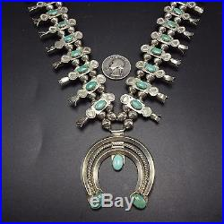 Vintage NAVAJO Sterling Silver Box Bow & Turquoise SQUASH BLOSSOM Necklace