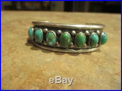 Vintage NAVAJO Sterling Silver CARICO LAKE Turquoise ROW Cuff Bracelet