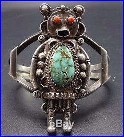 Vintage NAVAJO Sterling Silver CORAL & Spiderweb TURQUOISE KACHINA Cuff BRACELET