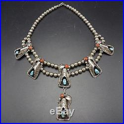Vintage NAVAJO Sterling Silver CORAL & TURQUOISE Squash Blossom Style NECKLACE