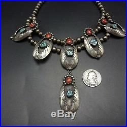 Vintage NAVAJO Sterling Silver CORAL and TURQUOISE Squash Blossom Style NECKLACE