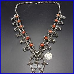Vintage NAVAJO Sterling Silver & Coral SQUASH BLOSSOM Necklace Sand Cast HEARTS