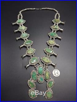 Vintage NAVAJO Sterling Silver & Green Manassa Turquoise SQUASH BLOSSOM Necklace