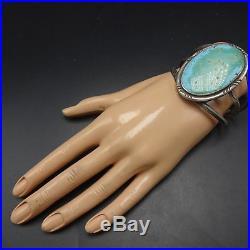 Vintage NAVAJO Sterling Silver Light Blue & Green TURQUOISE Cuff BRACELET 57.8g