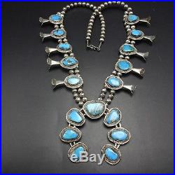 Vintage NAVAJO Sterling Silver & MORENCI Turquoise SQUASH BLOSSOM Necklace