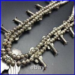 Vintage NAVAJO Sterling Silver NATURAL TURQUOISE CABS Squash Blossom NECKLACE