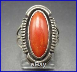 Vintage NAVAJO Sterling Silver OLD RED MEDITERRANEAN CORAL RING size 6.25