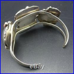 Vintage NAVAJO Sterling Silver OLD RED MED CORAL Cluster Cuff BRACELET 40.5g