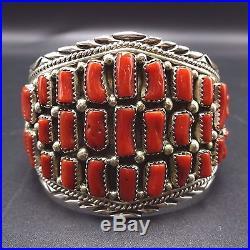 Vintage NAVAJO Sterling Silver OLD Red Mediterranean CORAL Cluster Cuff BRACELET