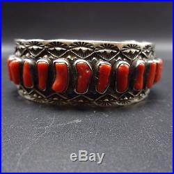 Vintage NAVAJO Sterling Silver & Old Red Branch CORAL Single Row Cuff BRACELET