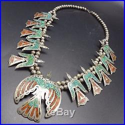 Vintage NAVAJO Sterling Silver PEYOTE BIRD Chip Inlay SQUASH BLOSSOM Necklace