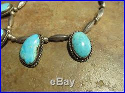 Vintage NAVAJO Sterling Silver PREMIUM Turquoise Melon Bead Necklace