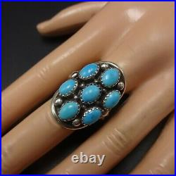 Vintage NAVAJO Sterling Silver SLEEPING BEAUTY TURQUOISE Cluster RING size 9