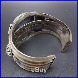 Vintage NAVAJO Sterling Silver Spiderweb Indian Mt. TURQUOISE Cuff BRACELET 107g