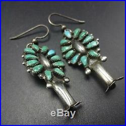 Vintage NAVAJO Sterling Silver TURQUOISE CLUSTER Squash Blossom EARRINGS Pierced