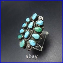 Vintage NAVAJO Sterling Silver TURQUOISE Cluster RING size 7 Applied Raindrops
