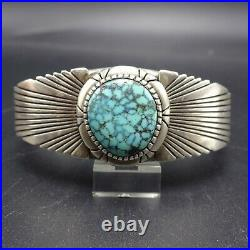 Vintage NAVAJO Sterling Silver TURQUOISE Tight Spiderweb Matrix Cuff BRACELET