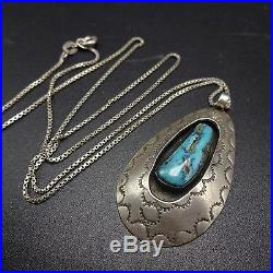 Vintage NAVAJO Sterling Silver Turquoise PENDANT Hand Stamped Shadow Box + Chain