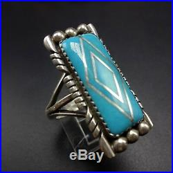 Vintage NAVAJO Sterling Silver and TURQUOISE Channel Inlay RING, size 9.75